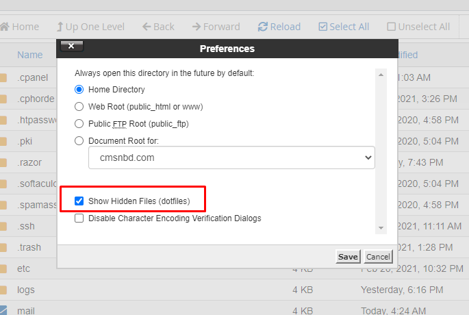 how to show hidden file from cPanel